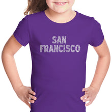 Load image into Gallery viewer, LA Pop Art Girl's Word Art T-shirt - SAN FRANCISCO NEIGHBORHOODS