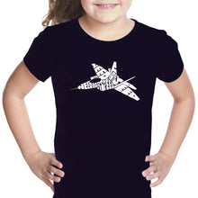 Load image into Gallery viewer, LA Pop Art Girl's Word Art T-shirt - FIGHTER JET - NEED FOR SPEED