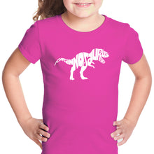 Load image into Gallery viewer, LA Pop Art Girl's Word Art T-shirt - TYRANNOSAURUS REX
