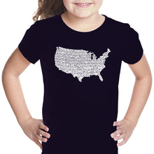 Load image into Gallery viewer, LA Pop Art Girl's Word Art T-shirt - THE STAR SPANGLED BANNER