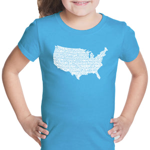 LA Pop Art Girl's Word Art T-shirt - THE STAR SPANGLED BANNER