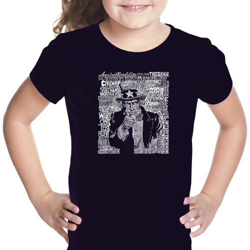 LA Pop Art Girl's Word Art T-shirt - UNCLE SAM