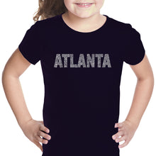 Load image into Gallery viewer, LA Pop Art Girl's Word Art T-shirt - ATLANTA NEIGHBORHOODS