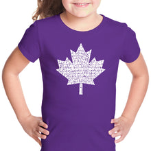 Load image into Gallery viewer, LA Pop Art Girl's Word Art T-shirt - CANADIAN NATIONAL ANTHEM