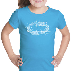 LA Pop Art Girl's Word Art T-shirt - CROWN OF THORNS