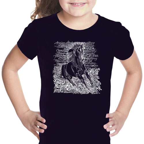 LA Pop Art Girl's Word Art T-shirt - POPULAR HORSE BREEDS
