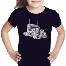 Load image into Gallery viewer, LA Pop Art Girl's Word Art T-shirt - KEEP ON TRUCKIN'