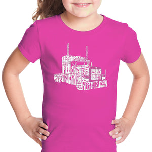 LA Pop Art Girl's Word Art T-shirt - KEEP ON TRUCKIN'