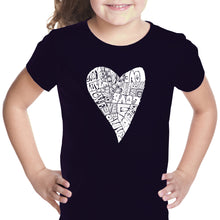 Load image into Gallery viewer, LA Pop Art Girl's Word Art T-shirt - Lots of Love