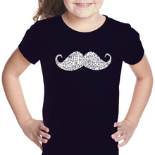 Load image into Gallery viewer, LA Pop Art Girl's Word Art T-shirt - WAYS TO STYLE A MOUSTACHE