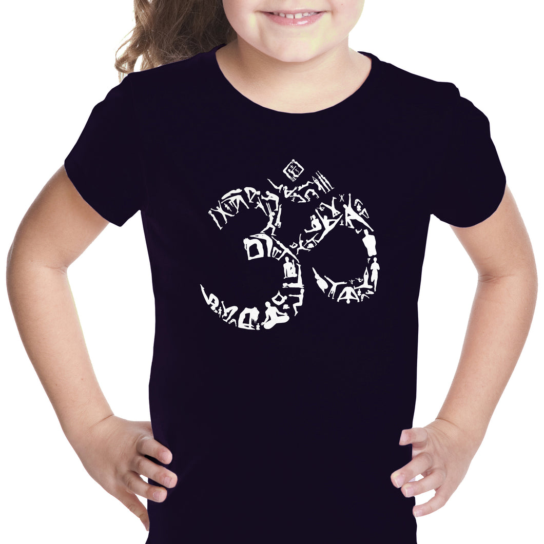 LA Pop Art Girl's Word Art T-shirt - THE OM SYMBOL OUT OF YOGA POSES