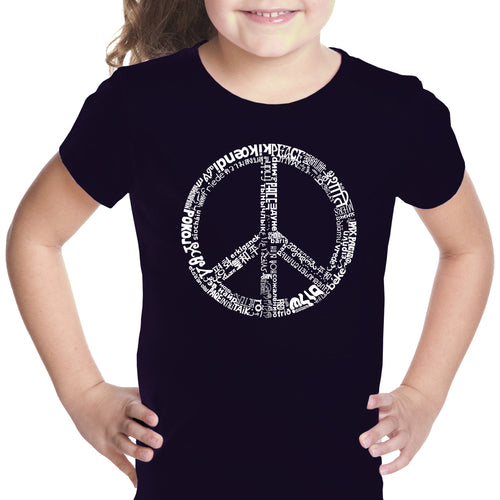 LA Pop Art Girl's Word Art T-shirt - THE WORD PEACE IN 77 LANGUAGES