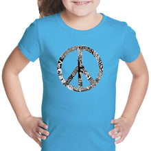 Load image into Gallery viewer, LA Pop Art Girl's Word Art T-shirt - PEACE, LOVE, & MUSIC