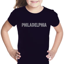 Load image into Gallery viewer, LA Pop Art Girl's Word Art T-shirt - PHILADELPHIA NEIGHBORHOODS