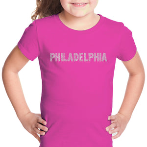 LA Pop Art Girl's Word Art T-shirt - PHILADELPHIA NEIGHBORHOODS
