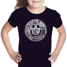 Load image into Gallery viewer, LA Pop Art Girl's Word Art T-shirt - SMILE IN DIFFERENT LANGUAGES