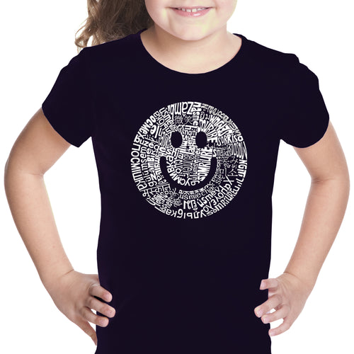 LA Pop Art Girl's Word Art T-shirt - SMILE IN DIFFERENT LANGUAGES