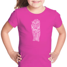 Load image into Gallery viewer, LA Pop Art Girl's Word Art T-shirt - TIGER