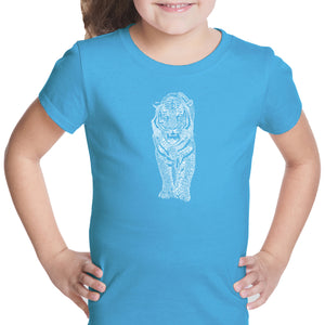 LA Pop Art Girl's Word Art T-shirt - TIGER