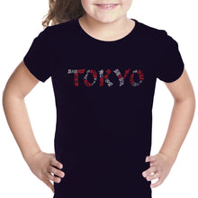 Load image into Gallery viewer, LA Pop Art Girl's Word Art T-shirt - THE NEIGHBORHOODS OF TOKYO