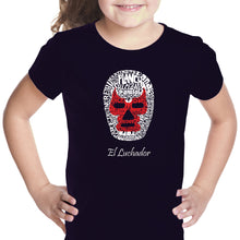 Load image into Gallery viewer, LA Pop Art Girl's Word Art T-shirt - MEXICAN WRESTLING MASK