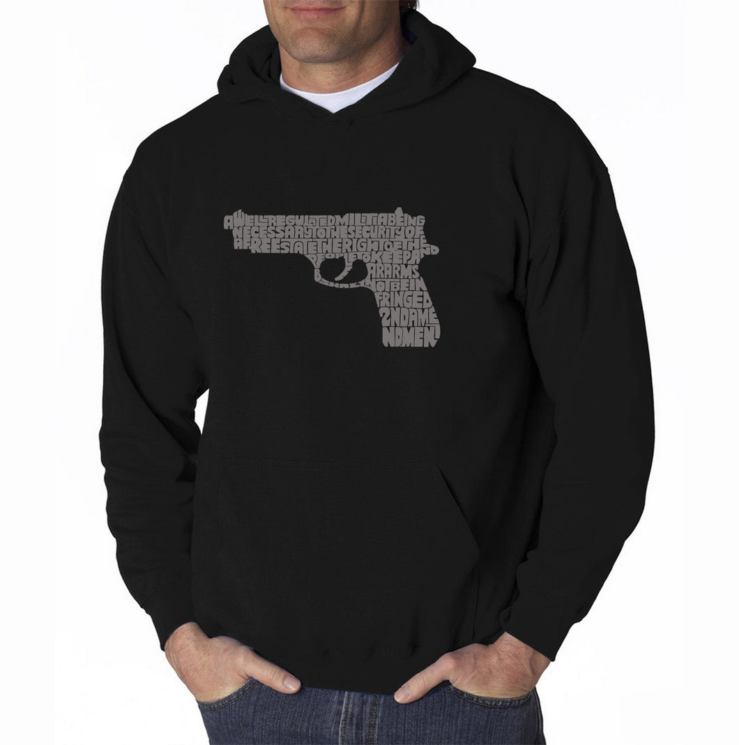 LA Pop Art Men's Word Art Hooded Sweatshirt - RIGHT TO BEAR ARMS