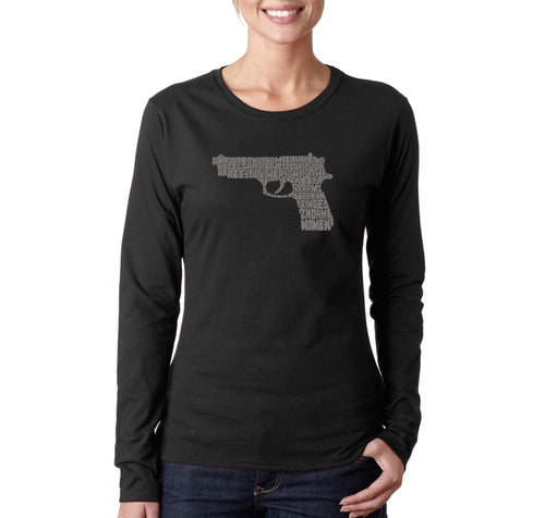 LA Pop Art Women's Word Art Long Sleeve T-Shirt - RIGHT TO BEAR ARMS