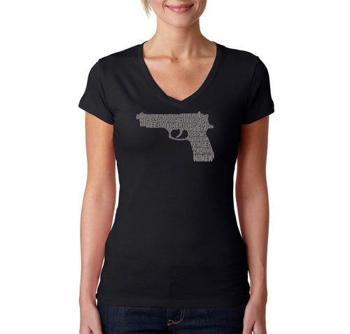 LA Pop Art Women's Word Art V-Neck T-Shirt - RIGHT TO BEAR ARMS