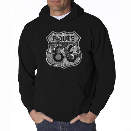 LA Pop Art Men's Word Art Hooded Sweatshirt - Stops Along Route 66