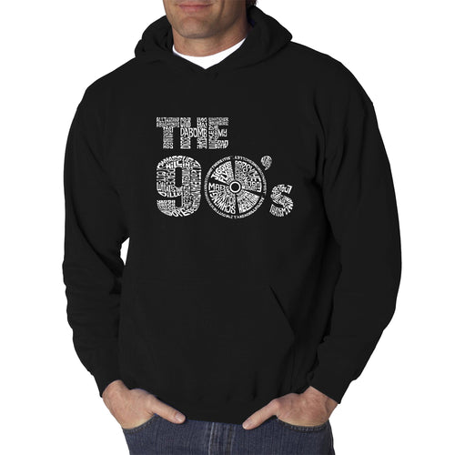 LA Pop Art Men's Word Art Hooded Sweatshirt - 90S