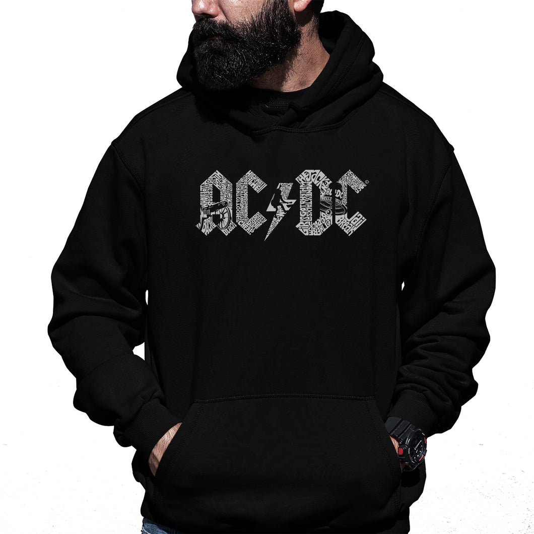 LA Pop Art Men's Word Art Hooded Sweatshirt - AC/DC
