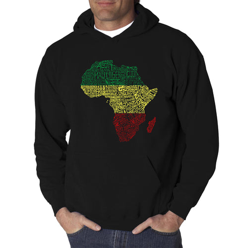 LA Pop Art Men's Word Art Hooded Sweatshirt - Countries in Africa