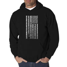 Load image into Gallery viewer, LA Pop Art Men's Word Art Hooded Sweatshirt - National Anthem Flag