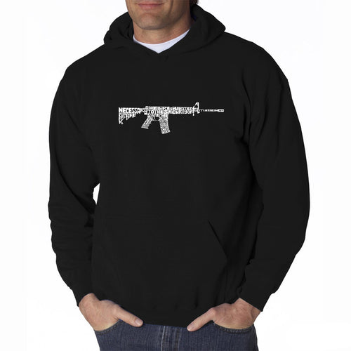 LA Pop Art Men's Word Art Hooded Sweatshirt - AR15 2nd Amendment Word Art