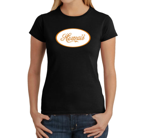 LA Pop Art Women's Word Art T-Shirt - HAWAIIAN ISLAND NAMES & IMAGERY