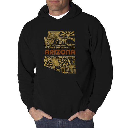 LA Pop Art Men's Word Art Hooded Sweatshirt - Az Pics