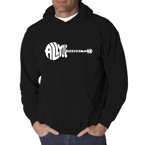 LA Pop Art Men's Word Art Hooded Sweatshirt - All You Need Is Love