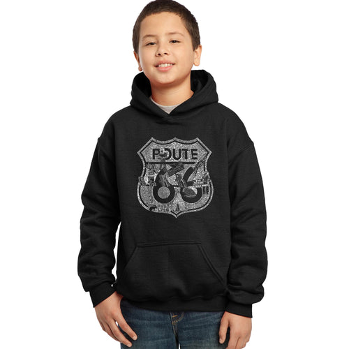 LA Pop Art Boy's Word Art Hooded Sweatshirt - Stops Along Route 66