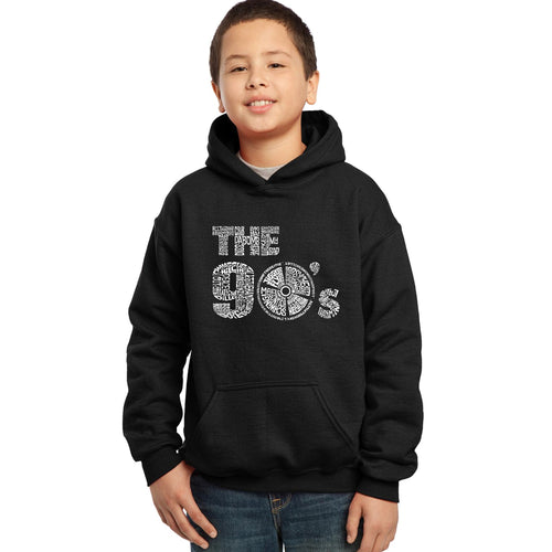 LA Pop Art Boy's Word Art Hooded Sweatshirt - 90S
