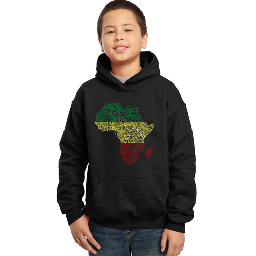 LA Pop Art Boy's Word Art Hooded Sweatshirt - Countries in Africa