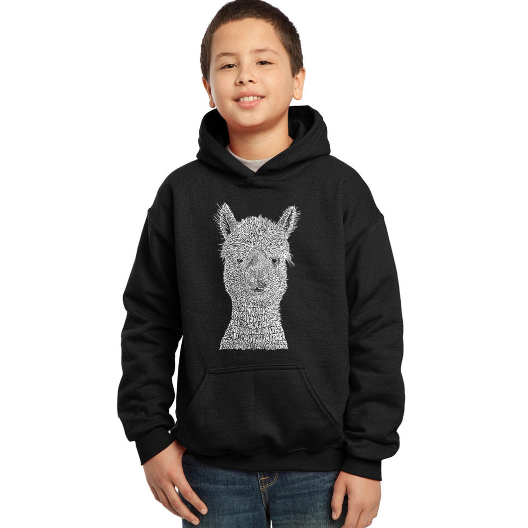 LA Pop Art Boy's Word Art Hooded Sweatshirt - Alpaca