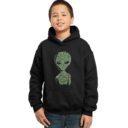 LA Pop Art Boy's Word Art Hooded Sweatshirt - Alien