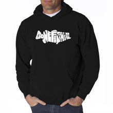 Load image into Gallery viewer, LA Pop Art Men's Word Art Hooded Sweatshirt - Bass - Gone Fishing