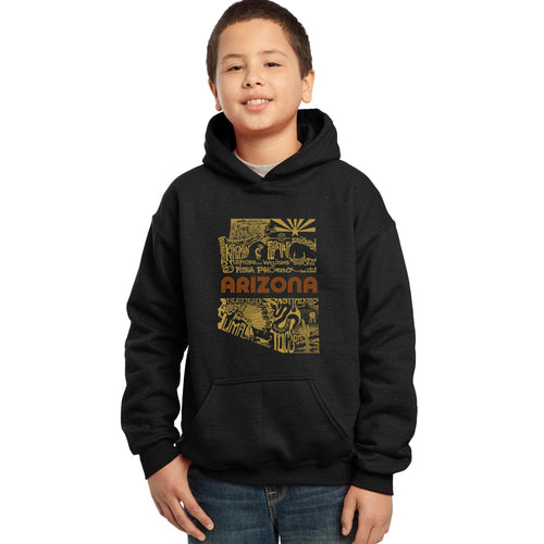 LA Pop Art Boy's Word Art Hooded Sweatshirt - Az Pics