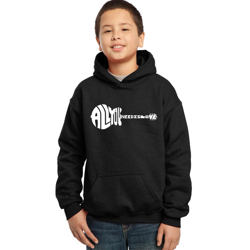 LA Pop Art Boy's Word Art Hooded Sweatshirt - All You Need Is Love