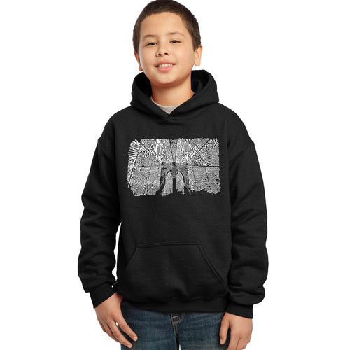 LA Pop Art Boy's Word Art Hooded Sweatshirt - Brooklyn Bridge
