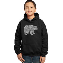 Load image into Gallery viewer, LA Pop Art Boy's Word Art Hooded Sweatshirt - Bear Species