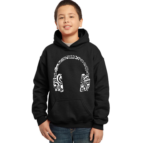 LA Pop Art Boy's Word Art Hooded Sweatshirt - Music Note Headphones