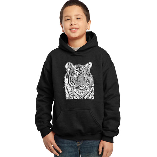LA Pop Art Boy's Word Art Hooded Sweatshirt - Big Cats
