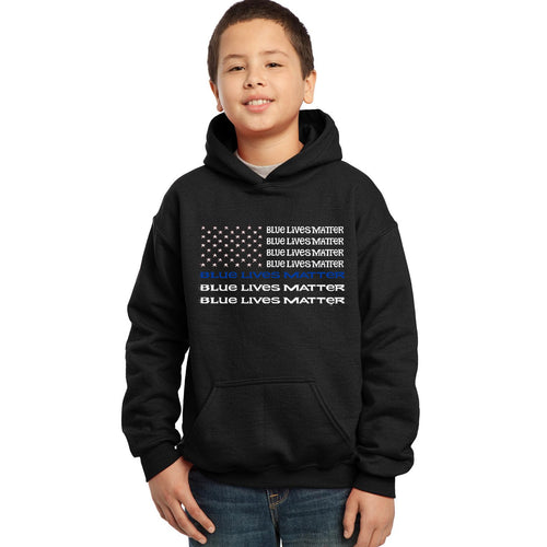 LA Pop Art Boy's Word Art Hooded Sweatshirt - Blue Lives Matter